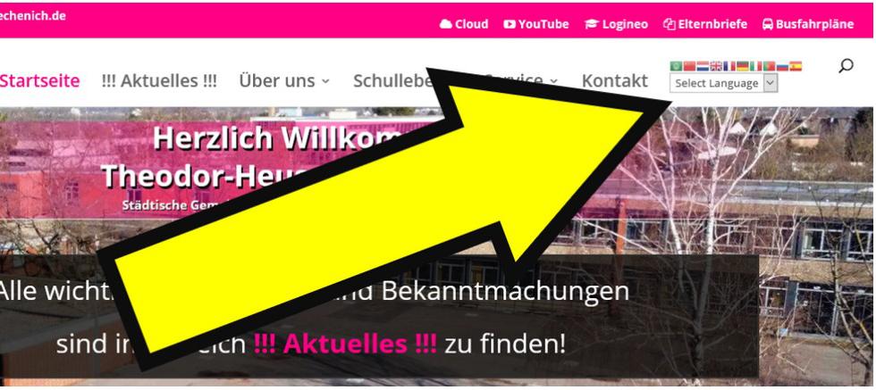 Sprachenauswahl für unsere Homepage